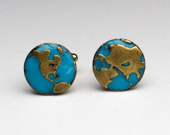 World Map Cuff Links, Map Cuff Links, World Cufflinks, Anniversary Gifts For Men, Cuff Links