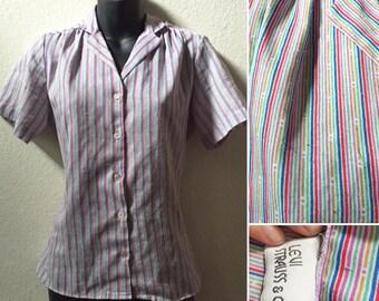 1970's 1980's purple striped button up blouse small medium levi strauss pink