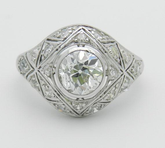 Antique Art Deco 1.89 ct Platinum Diamond Engagement Ring Old Miner Size 6.75