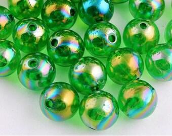 10mm. 50CT.  Christmas Green AB Acrylic Beads, A41