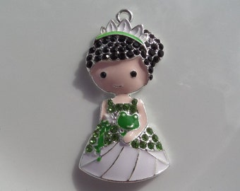 49mm Green Princess Rhinestone Pendant, P15