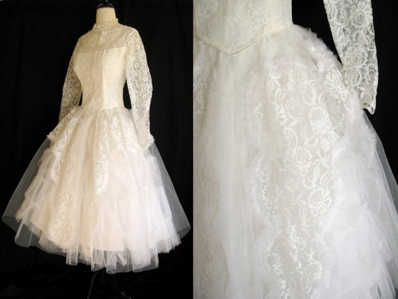 True Vintage 1950s White Wedding Dress Tea Length Lace