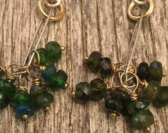 Mixed Metal Wire Wrapped Dangle Cluster Earrings - Tourmaline Green - 14 K GF - Rustic Gypsy Style