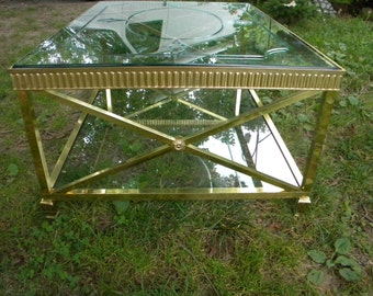 nice shape vintage mid century BRASS ENGRAVED GLASS top coffee table  pick up only