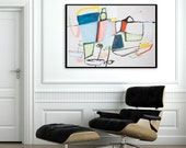 Wall art Large Abstract Painting Nautical Mid Century Modern Geometric Art Original Acrylic Painting Blue Pink by Duealberi