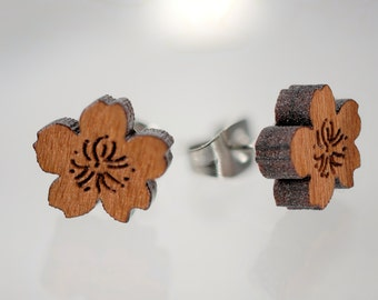 Cherry Blossom Wood Earrings on Surgical Steel or 14K Gold Filled Posts
