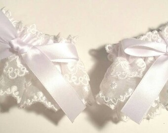 White Polka dots and bows lolita wrist cuffs
