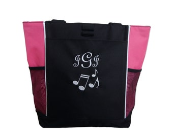 Tote Bag Personalized Music Notes Band Teacher Chorus Theater Drama Glee Club Musical Theatre