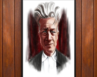 David Lynch Poster Caricature Portrait, Poster or Framed Print