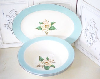 Vintage Turquoise Dishes Serving Platter Serving Bowl Semi-Vitreous Lifetime China Co. Alliance Magnolia