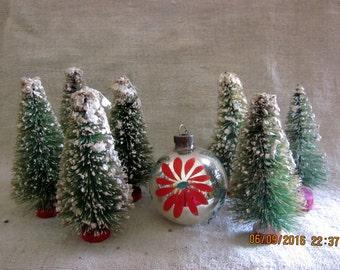 PreChristmas Sale - Vintage 1950s Flocked  Bottlebrush Trees,Retro Christmas Decor, Teeny trees, Flocked Trees