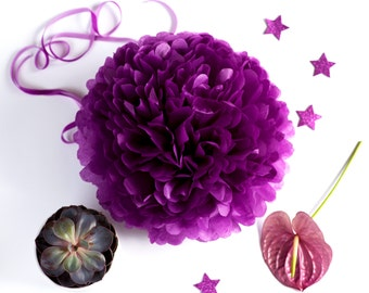 Paper pom pom in Plum  - purple - wedding decorations / party decor/ nursery decor/ bridal baby shower/ tissue paper pompoms / party poms
