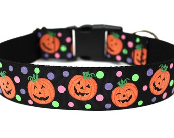 "Halloween Dog Collar 1.5"" Pumpkin Dog Collar SIZE MEDIUM"