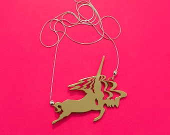 Unicorn pendant necklace handcut made of Bronze and silver chain.