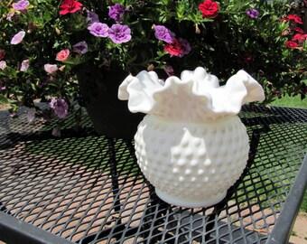 "Fenton Milk Glass Hobnail Vase 5 1/2"" from 1950's"