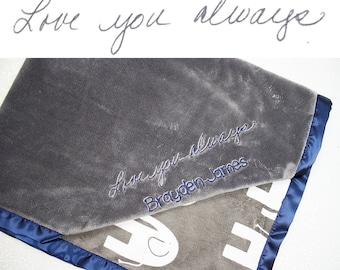 Minky blanket, Special blanket, blanket with handwriting, personalized minky blanket, handwritten embroidery, memory blanket, memorial gift