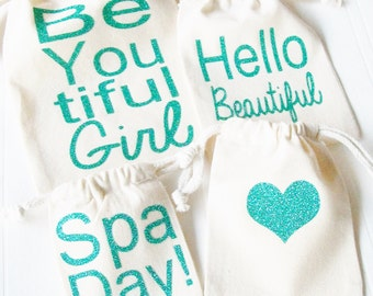 Spa Day Party Favor, Gift Bag Custom tote bag Cotton Drawstring Bag Birthday Spa Party Bachelorette Spa Party Sweet 16 Spa Party Tween Girls