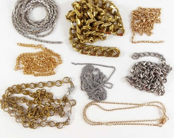 Assorted Vintage Chain, Ladder Chain, Cable and Curb Chain, Patina Brass, Jewelry Making, Matte Silver, B'sue, Assorted Lengths,Item08220
