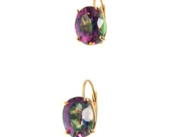 Mystic Topaz 14k Gold Lever Back Earrings