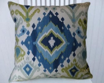 Light Blue, Navy Blue, Green Ikat Pillow Cover,  Decorative Throw Pillow Cover 18x18 or 20x20 or 22x22 Accent Pillow Cover