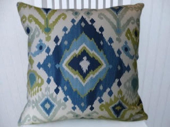 Light Blue Navy Blue Green Ikat Pillow Cover Decorative
