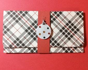 Christmas Money/Gift Card/Check Holder, Handmade, Red, Black, White, Plaid. Ornament