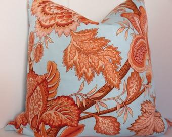 SALE Orange Blue Pillow Cover - Orange Floral Pillow Cover - 20x20 Pillow Cover - Orange Pillow - Blue Pillow - Sky Blue Pillow