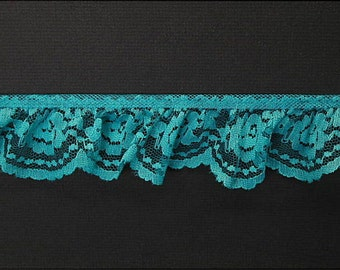 2.125 inch Single-Gathered Lace, teal price for 1 yard