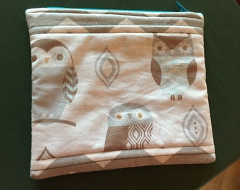 Medium Quilted Pouch/Bag - Neutral colored owls combined with gray and white chevrons with a beautiful blue interior fabric lining!