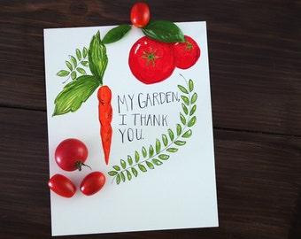 My Garden, I Thank You Illustration; FREE SHIPPING