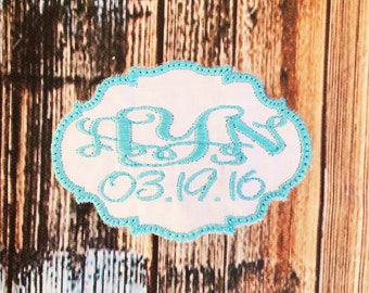 MONOGRAMMED BRIDAL LABEL / Something Blue / Wedding Dress Personalized Patch