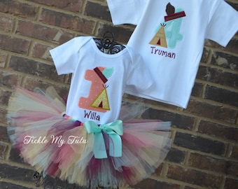 Teepee Birthday Outfits for Boy and Girl Twins or Siblings-Tribal Birthday Outfit-Wild One Birthday Tutu Set-Warrior Birthday Tutu Set