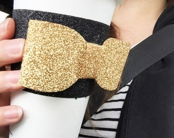 glitter bow coffee cozy, all glitter coffee sleeve, gold glitter bow, gold glitter coffee cozy, many glitter colors available to create