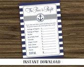 INSTANT DOWNLOAD - Nautical Price is Right Baby Shower Game - Navy and Gray - Printable Digital File
