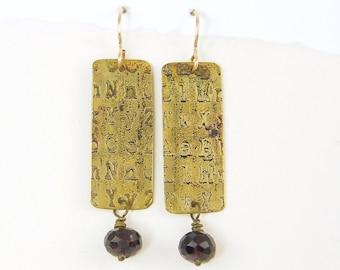 Etched Metal Jewelry, Garnet Drop Earrings, Patina Earrings, Text Letters Rustic Metal, Brass Rectangle Jewelry