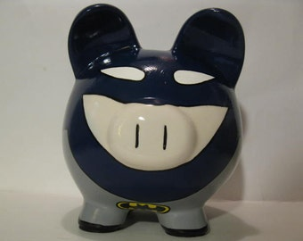 Personalized, Handpainted, Batpig in Black Piggy Bank - MADE TO ORDER