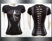 SALE!!! SMALL - Juniors / Womens All That Jazz Cut and Weaved Black Top Size Small Shredded T Fun Dance Wear