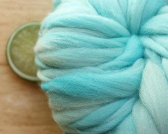 Aqua - Handspun Wool Yarn Turquoise Blue Thick and Thin Skein