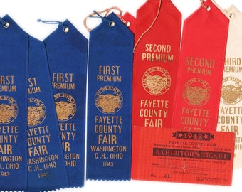 Fayette County, Ohio fair ribbons and exhibitor's ticket, 1943