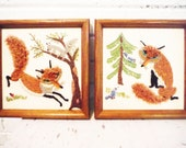 Vintage fox needlework stitchery framed pair stylized sly clever woodland decor retro embroidery foxes