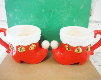 Vintage pair of elf boots santa pixie eggnog mug mini red white gold Christmas kitsch