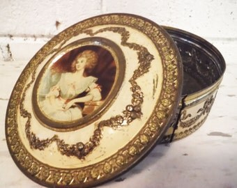 Shabby repousse tin candy trinket lidded fancy lady portrait french cream gold fancy vintage 1930's