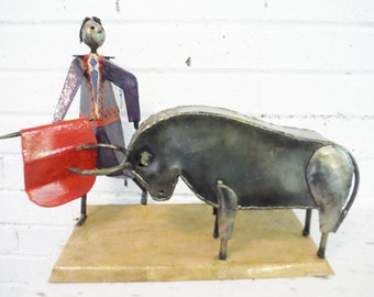 Large bull fighter and bull brutalist sculpture vintage hand made unusual folk art mid century