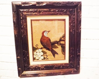 Vintage bird reverse painted glass dogwood brown white folk art framed