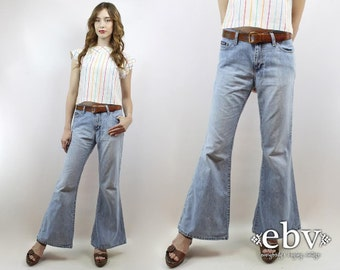 Hippie Jeans Hippy Jeans Boho Jeans Bellbottoms Flared Leg Jeans 90s Jeans 90s Denim Vintage 90s Light Denim Bell Bottom Jeans M 28