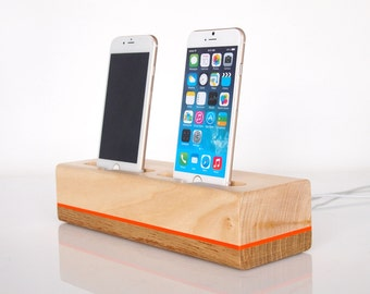 iPhone 7 / iPhone 6s plus charging station / iPhone 5s charging station -  dual dock  - unique present