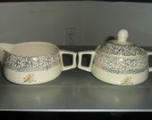 Antique China Cream & Gold Sugar Bowl and Creamer - 1930's or 1940's