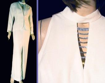 UNWORN 80s Formal Suit by KAREN LAURENCE Off White w Rhinestones Bust 38 Prom Wedding Black Tie