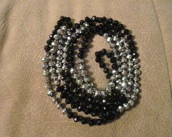 Vintage Black and Silver Crystal Flapper Necklace 60 inches WOW