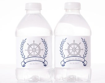 Nautical Water Labels - 30 Wedding Water Bottle Labels - Wedding Bottled Water Labels - Personalized Water Bottle Stickers